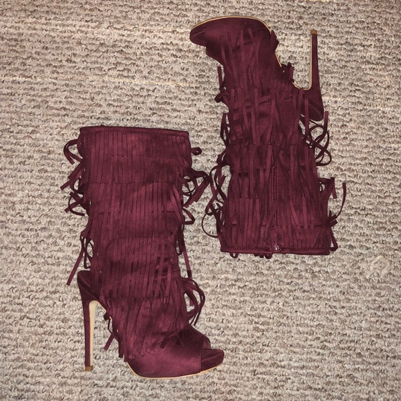 simmi shoes Shoes | Burgundy Peep Toe